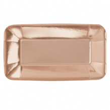 "Metallic Rose Gold Appetizer Plates - 9"" Foil Board Plates (8pcs)"